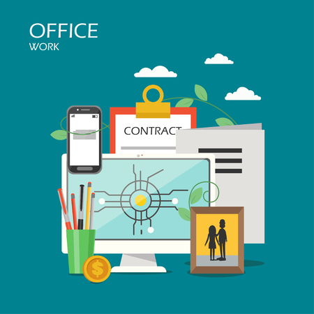 Office work vector flat style design illustration. Desktop computer, smartphone, clipboard with contract form, stationery, photo in frame. Office workspace poster, banner.