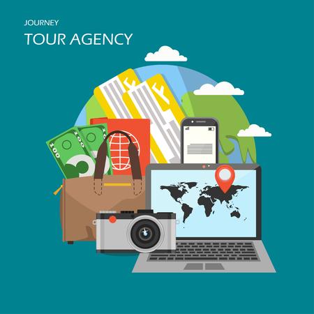 Tour agency poster banner, vector flat illustration