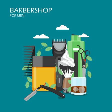 Vector flat style design illustration of comb, aftershave, straight razor, shaving brush with foam, hair clipper, scissors, shampoo. Barbershop services concept for web banner, website page etc.