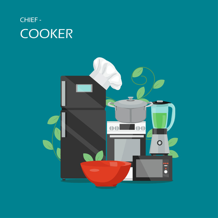Chief-cooker concept vector flat style design illustration