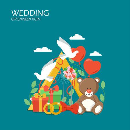 Wedding organization vector flat style design illustration