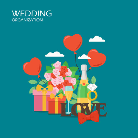 Vector flat illustration of ring with diamond, heart shaped balloons, gift boxes, bouquet of flowers, champagne, red bow tie. Wedding organization services concept for web banner, website page etc.