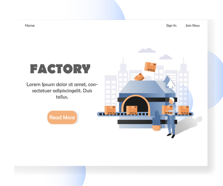 Factory vector website landing page design template