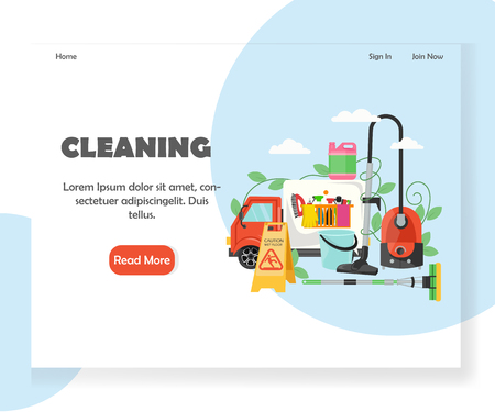 Cleaning vector website landing page design template