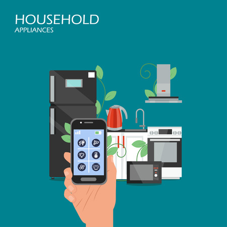 Household appliances vector flat style design illustration Ilustración de vector