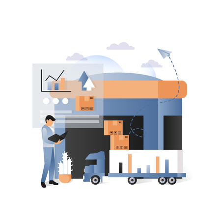 Vector illustration of warehouse, delivery truck, parcels, worker, statistics bar graphs and charts. Delivery logistics shipping transportation concepts for web banner, website page, presentation etc.