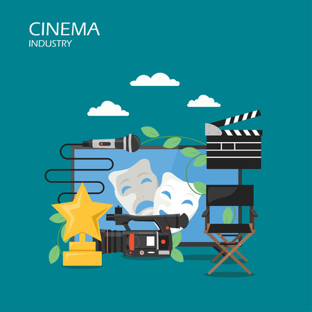 Cinema industry vector flat illustration. Clapperboard, camcorder, tv with tragedy and comedy masks on screen, microphone, film festival trophy. Cinematography concept for web banner, website page etc