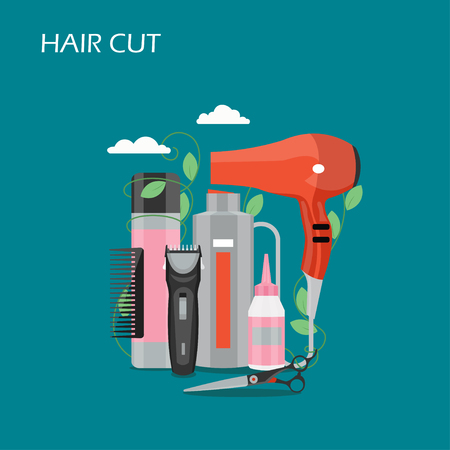 Hair cut vector flat illustration. Comb, hairdryer, scissors, hair clipper and other hairdressing accessories. Barber shop, haircut and beauty salons concept for web banner, website page etc.  イラスト・ベクター素材
