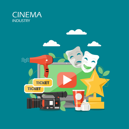 Cinema industry vector flat illustration. Computer camcorder tragedy and comedy masks tickets hairdryer makeup products and film festival trophy. Cinematography concept for web banner website page etc Vettoriali