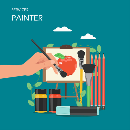 Painter artist services vector flat style design illustration