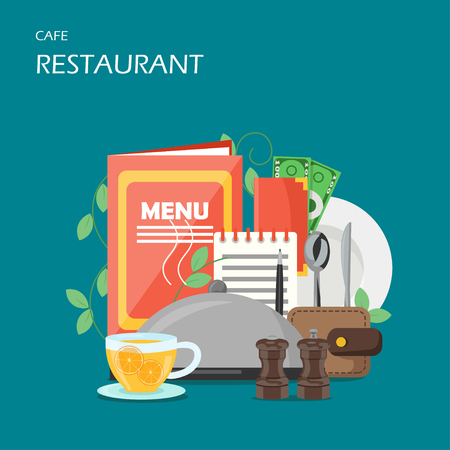 Restaurant services vector flat style design illustration
