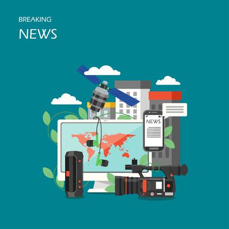 Breaking news vector flat style design illustration. Computer, camcorder, smartphone, loudspeaker, earphones, satellite. The latest world news online concept for web banner, website page etc.