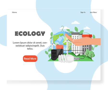 Ecology vector website landing page design template