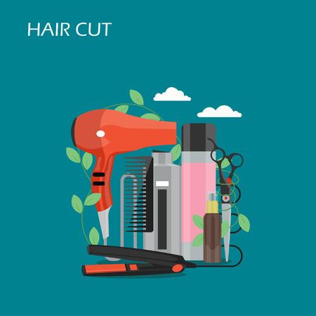 Illustration de conception de style plat de vecteur de coupe de cheveux