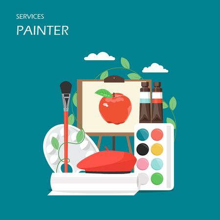 Painter artist services vector flat style design illustration