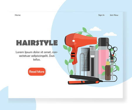 Hairstyle vector website landing page design template