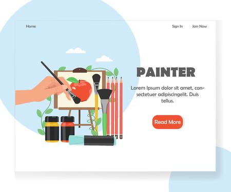 Painter vector website landing page design template
