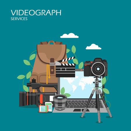 Videographer services vector flat style design illustration
