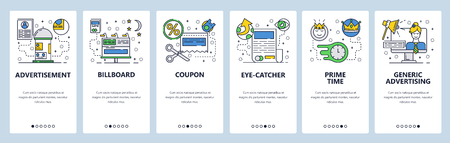 Web site onboarding screens. Marketing and advertising icons. Billboard, TV AD and online promotions. Menu vector banner template for website and mobile app development. Modern design flat illustration