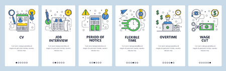 Web site onboarding screens. Job interview and CV. Working hours and overtime salary. Menu vector banner template for website and mobile app development. Modern design flat illustration
