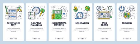 Web site onboarding screens. Business task management, planning and integration. Menu vector banner template for website and mobile app development. Modern design flat illustration