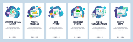 Web site onboarding screens. Social media services, online chat and dating profiles. Menu vector banner template for website and mobile app development. Modern design flat illustration