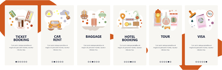 Web site onboarding screens. Travel planning, hotel and flight tickets booking, car rent and sightseeing tour. Menu vector banner template for website and mobile app development. Iillustration.