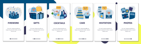 Web site onboarding screens. Holiday celebration and birthday party. Fireworks, cake, gifts and drinks. Menu vector banner template for website and mobile app development. Modern design flat illustration