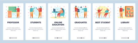 Web site onboarding screens. College education and university students. Menu vector banner template for website and mobile app development. Modern design flat illustration
