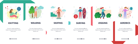 Web site onboarding screens. Sport, hobby and leisure activities. Menu vector banner template for website and mobile app development. Modern design flat illustration
