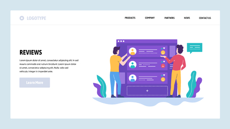 Vector web site design template. Online reviews and customer rating. Landing page concepts for website and mobile development. Modern flat illustration.