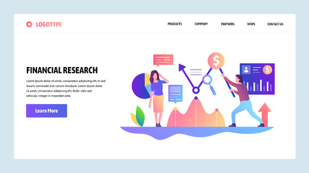 Vector web site design template. Financial research. money management and money investment. Landing page concepts for website and mobile development. Modern flat illustration