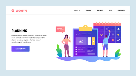 Vector web site design template. Task manager and time schedule management. Landing page concepts for website and mobile development. Modern flat illustration.