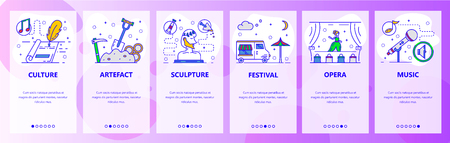 Mobile app onboarding screens. World culture and art, literature, theatre, music. Menu vector banner template for website and mobile development. Web site design flat illustration