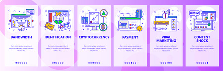 Mobile app onboarding screens. Internet speed test, cryptocurrency, online payment, digital money, viral marketing. Vector banner template for website and mobile development. Web site illustration 向量圖像