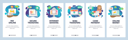 Mobile app onboarding screens. Online payment, wire transfers and digital money. Internet secure banking and finance. Menu vector banner template for website and mobile development. Web site design flat illustration.