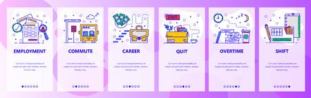 Mobile app onboarding screens. Job career, employment, career ladder, overtime and work shift. Menu vector banner template for website and mobile development. Web site design flat illustration.