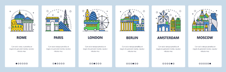 Mobile app onboarding screens. Tourist sightseeing, Europe cities landmarks, travel Europe. Menu vector banner template for website and mobile development. Web site design flat illustration.