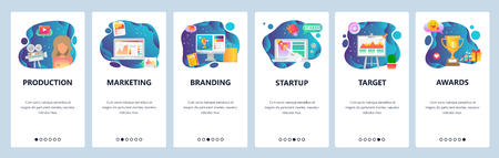 Mobile app onboarding screens. Marketing, branding, video production, startup. Menu vector banner template for website and mobile development. Web site design flat illustration. Imagens - 124518404