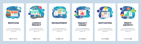 Mobile app onboarding screens. Business project launch, development and deadline. Financial growth and success. Menu vector banner template for website and mobile development. Web site design flat illustration