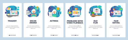 Mobile app onboarding screens. Online streaming video, cinema and movie actress. Menu vector banner template for website and mobile development. Web site design flat illustration