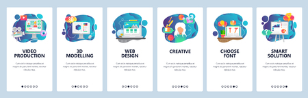 Mobile app onboarding screens. Video production, 3d modelling, creative web design. Menu vector banner template for website and mobile development. Web site design flat illustration. Illusztráció