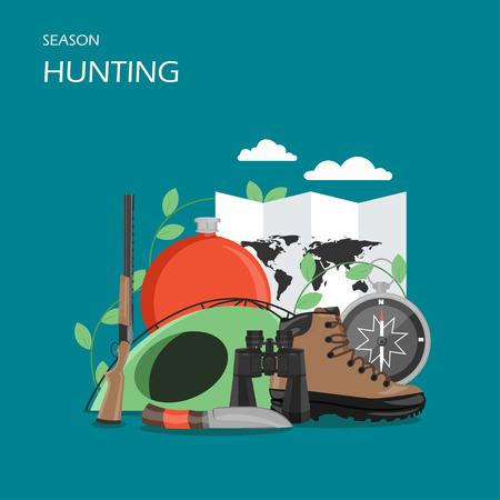 Hunting season vector flat style design illustration Çizim
