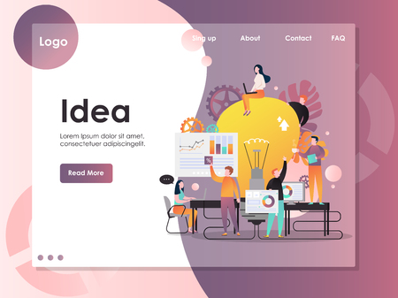 Business idea vector website landing page design template Illustration