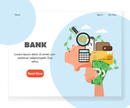 Bank vector website landing page design template