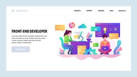 Vector web site design template. Software development, programmer writing code, teamwork. Landing page concepts for website and mobile development. Modern flat illustration Vektorové ilustrace