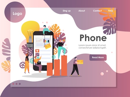 Mobile phone vector website landing page design template