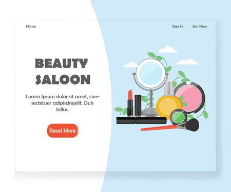 Beauty saloon vector website landing page design template
