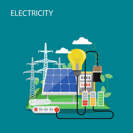 Electricity concept vector flat illustration. High voltage power lines, solar panel, light bulb, extension cord. Electric power production and consumption composition for web banner, website page etc