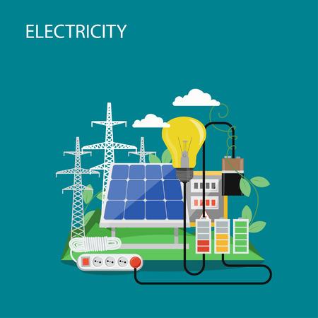 Stromkonzept flache Vektorgrafik. Hochspannungsleitungen, Solarpanel, Glühbirne, Verlängerungskabel. Zusammensetzung von Stromerzeugung und -verbrauch für Webbanner, Website-Seite usw.